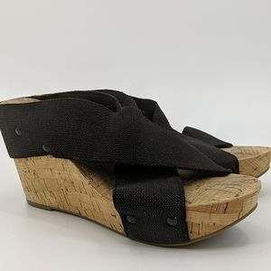 LUCKY BRAND Miller Cross Strap Cork Wedge Sandals